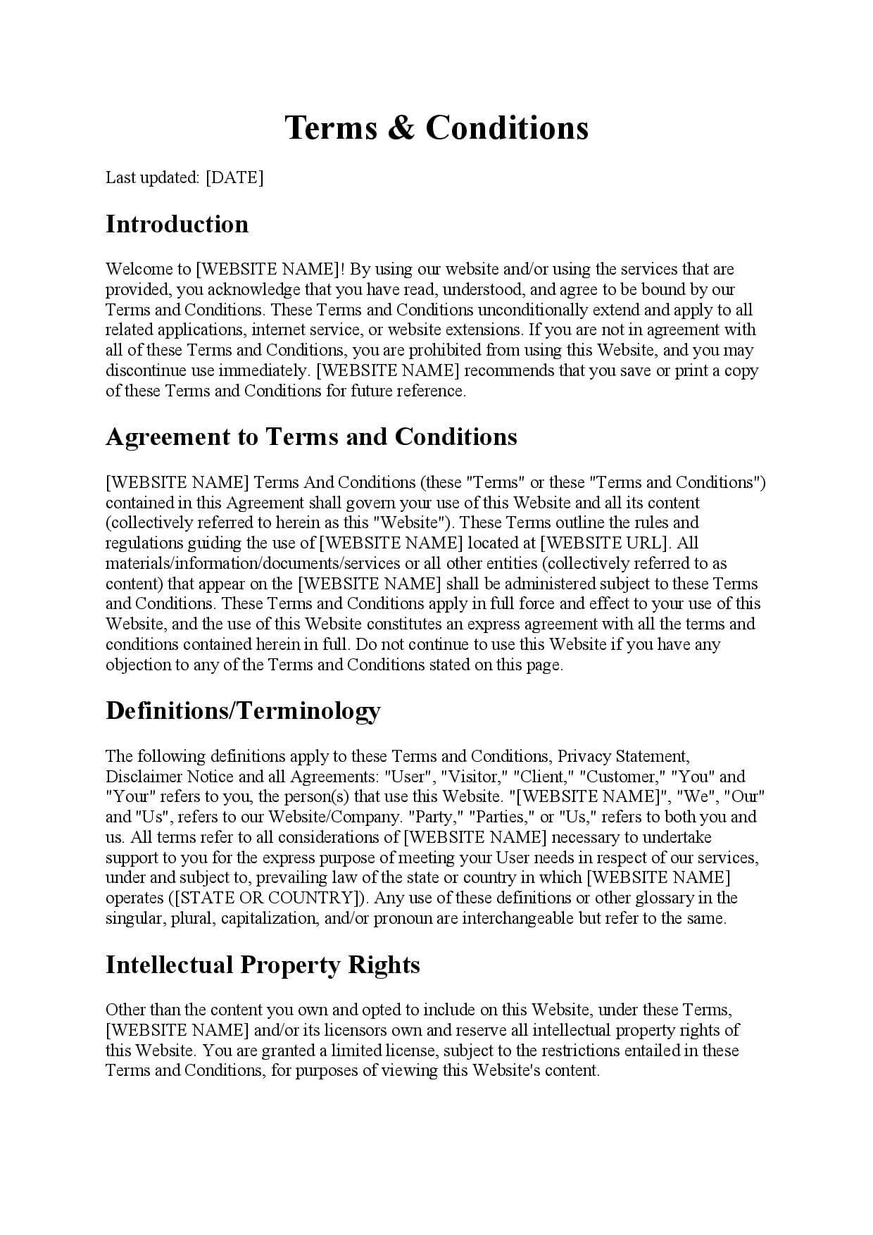 Template Website Terms & Conditions