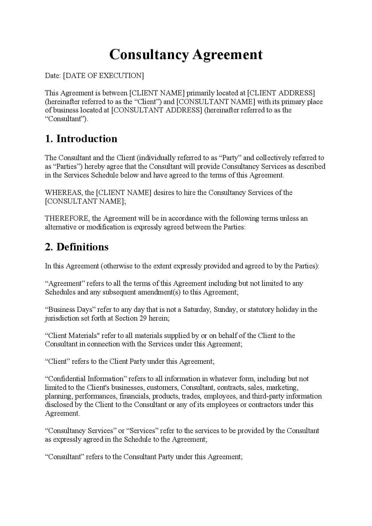 Template Consultancy Agreement